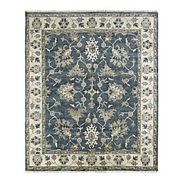 Umbria Hand Knotted Area Rug in Grey/Ivory