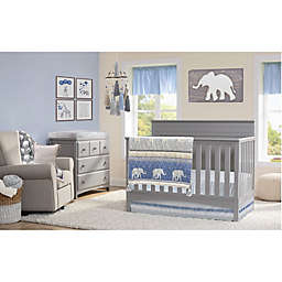 Oioi 4-Piece Safari Crib Bedding Set in Blue