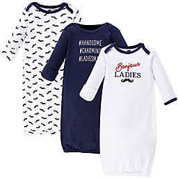 Hudson Baby® Size 0-6M 3-Pack Bonjour Gowns in Blue/White