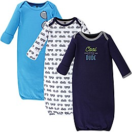 Hudson Baby® Size 0-6M 3-Pack Cool Little Dude Gowns in Blue/White