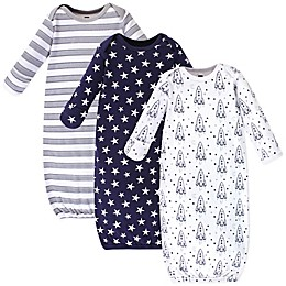 Hudson Baby® Size 0-6M 3-Pack Rockets Gowns in White