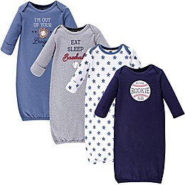 Hudson Baby® Size 0-6M 4-Pack Baseball Gowns in Blue