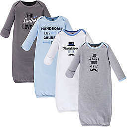 Hudson Baby® Size 0-6M 4-Pack Handsome Fella Gowns in Blue