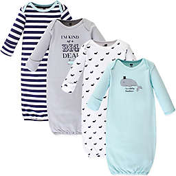 Hudson Baby® Size 0-6M 4-Pack Handsome Whale Gowns in Blue