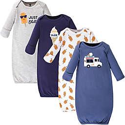 Hudson Baby® Size 0-6M 4-Pack Ice Cream Truck Gowns in Orange