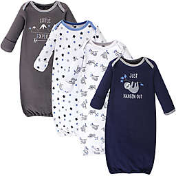 Hudson Baby® Size 0-6M 4-Pack Little Explorer Gowns in Blue