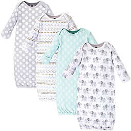 Hudson Baby® Size 0-6M 4-Pack Elephant Gowns in Grey
