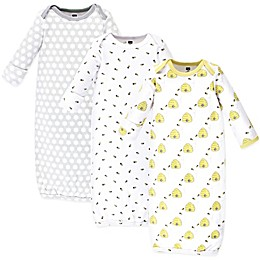Hudson Baby® Size 0-6M 3-Pack Bees Gowns in Yellow