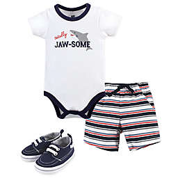 Hudson Baby® Size 6-9M 3-Piece Jaw-some Bodysuit, Short, and Shoe Set in White