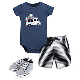Hudson Baby® 3-Piece Ice Cream Truck Bodysuit, Short and Shoe Set in Blue