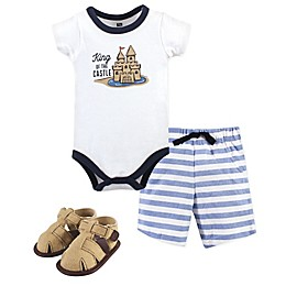 Hudson Baby® Sand Castle Bodysuit, Short, and Shoe Set in Blue