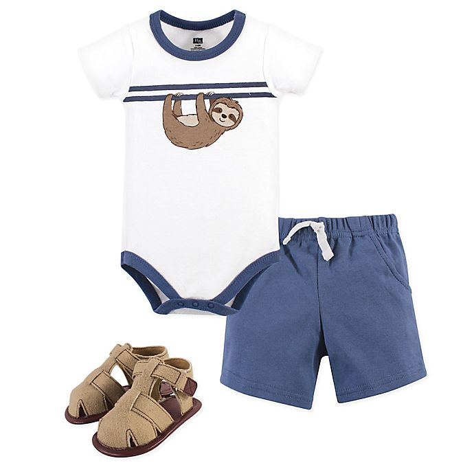 Alternate image 1 for Hudson Baby® 3-Piece Sloth Bodysuit, Short, and Shoe Set in Blue