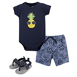 Hudson Baby® 3-Piece Pineapple Bodysuit, Short, and Shoe Set in Blue
