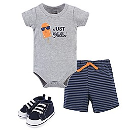 Hudson Baby® 3-Piece Chillin' Popsicle Bodysuit, Short and Shoe Set in Grey