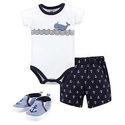 Hudson Baby® 3-Piece Sailor Whale Bodysuit, Short, and Shoe Set in Blue