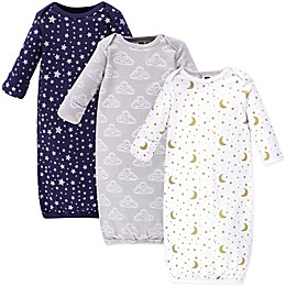 Hudson Baby® Size 0-6M 3-Pack Moon, Cloud, and Star Gowns