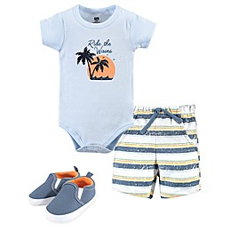Hudson Baby® 3-Piece Ride Waves Bodysuit, Short and Shoe Set in Blue