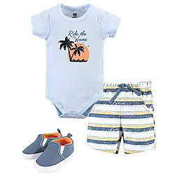 Hudson Baby® Size 9-12M 3-Piece Ride Waves Bodysuit, Short and Shoe Set in Blue
