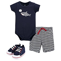 Hudson Baby® 3-Piece Shark Bodysuit, Short and Shoe Set