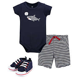Hudson Baby® Size 9-12M 3-Piece Shark Bodysuit, Short and Shoe Set