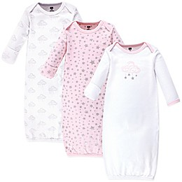 Hudson Baby® Size 0-6M 3-Pack Cloud Mobile Gowns in Pink