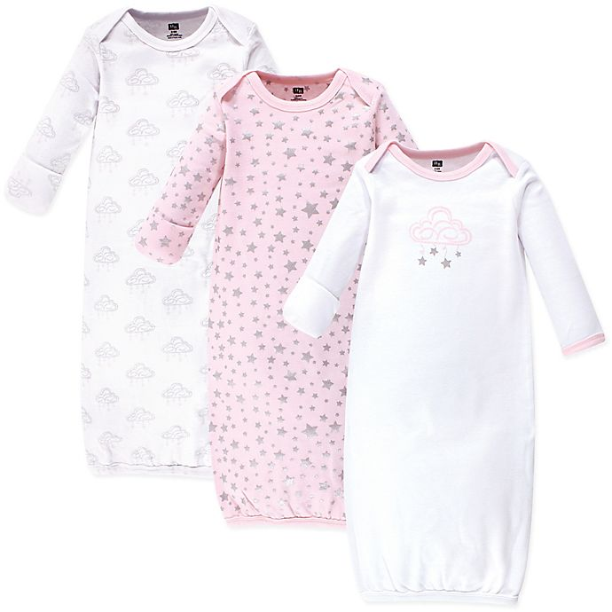Alternate image 1 for Hudson Baby® Size 0-6M 3-Pack Cloud Mobile Gowns in Pink