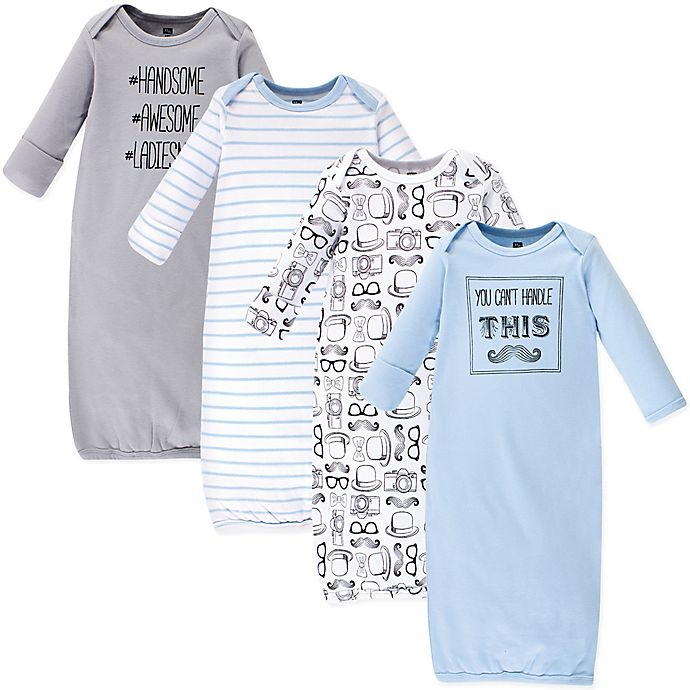 Alternate image 1 for Hudson Baby® Size 0-6M 4-Pack Mustache Gowns in Blue/White/Grey