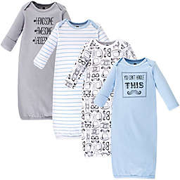 Hudson Baby® Size 0-6M 4-Pack Mustache Gowns in Blue/White/Grey