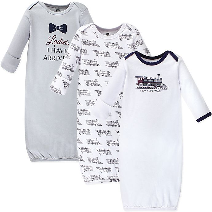 Alternate image 1 for Hudson Baby® Size 0-6M 3-Pack Train Gowns in Grey/White