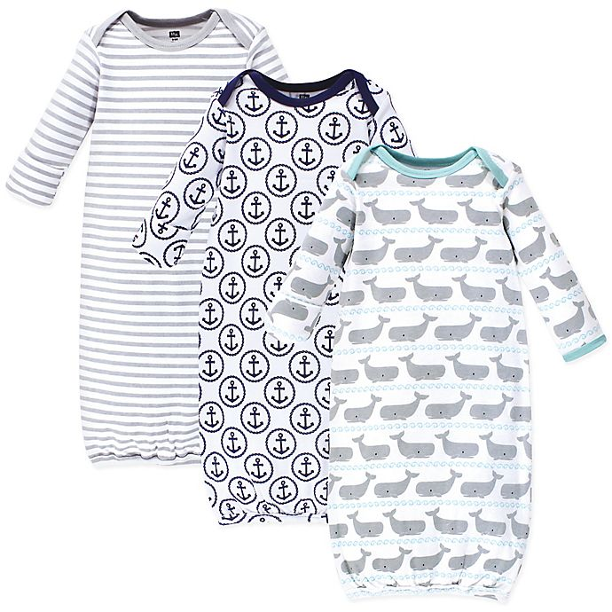 Alternate image 1 for Hudson Baby® Size 0-6M 3-Pack Whale and Anchor Gowns in Grey/White