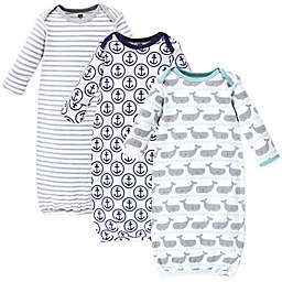 Hudson Baby® Size 0-6M 3-Pack Whale and Anchor Gowns in Grey/White