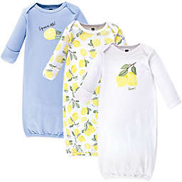 Hudson Baby® Size 0-6M 3-Pack Lemon Gowns