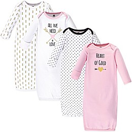 Hudson Baby® Size 0-6M 4-Pack Heart Gowns in Pink