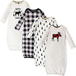 Hudson Baby® Size 0-6M 4-Pack Moose Gowns in Beige