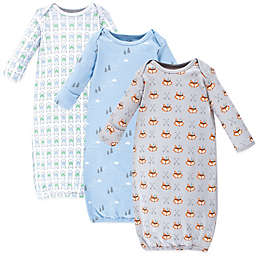 Luvable Friends® Size 0-6M 3-Pack Wild and Free Gowns in Blue