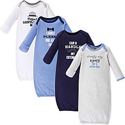 Luvable Friends® Size 0-6M 4-Pack Gentleman Gowns in Blue/Grey/White