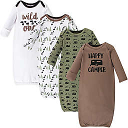 Luvable Friends® Size 0-6M 4-Pack Happy Camper Gowns in Brown/Green/White