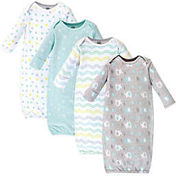 Luvable Friends® Size 0-6M 4-Pack Geo Elephants Gowns in Blue
