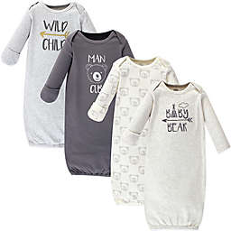 Luvable Friends® Size 0-6M 4-Pack Arrow Bear Gowns in Grey