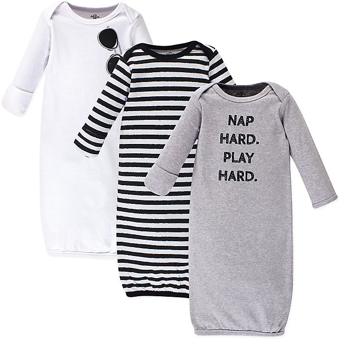 Alternate image 1 for Little Treasure Size 0-6M 3-Pack Nap Hard Gowns in Grey