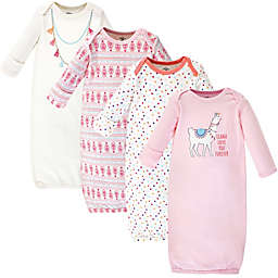 Little Treasure Size 0-6M 3-Pack Llama Gowns in Pink