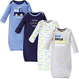Luvable Friends® Size 0-6M 4-Pack Trucks Gowns in Blue