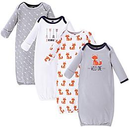 Hudson Baby® Size 0-6M 4-Pack Wild One Gowns in Orange