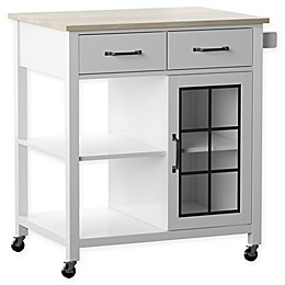 Twin Star Home Rolling Kitchen Cart in White/Grey
