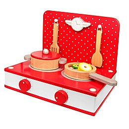 Classic World Toys Wooden Retro Tabletop Kitchen Set in Red