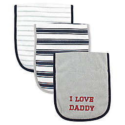 Luvable Friends® 3-Pack Daddy Burp Cloths in Grey Stripe