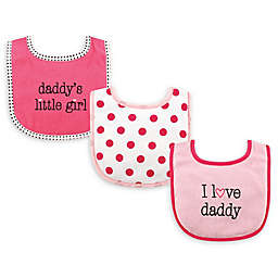 """Luvable Friends® 3-Pack """"I Love Dad"""" Bibs in Pink"""