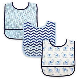 Luvable Friends® 3-Pack Waterproof Elephant Bibs in Blue