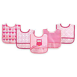 Luvable Friends® 5-Pack Owl Bibs in Pink
