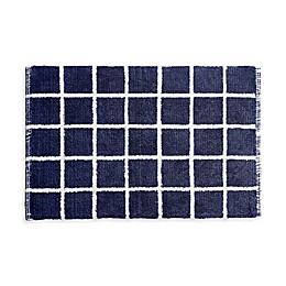 Landon Reversible Bath Rug Set in Blue/White